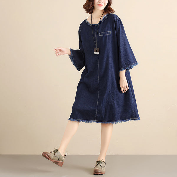 Casual Cotton Round Neck Long Sleeves Literature Women Blue Dress - Buykud