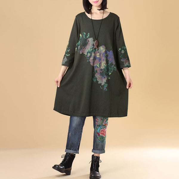 Women Round Neck Three Quarter Sleeve Army Green Sweater Dress - Buykud