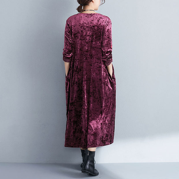 V Neck Long Sleeve Lacing Wine Red Women Pleated Dress - Buykud