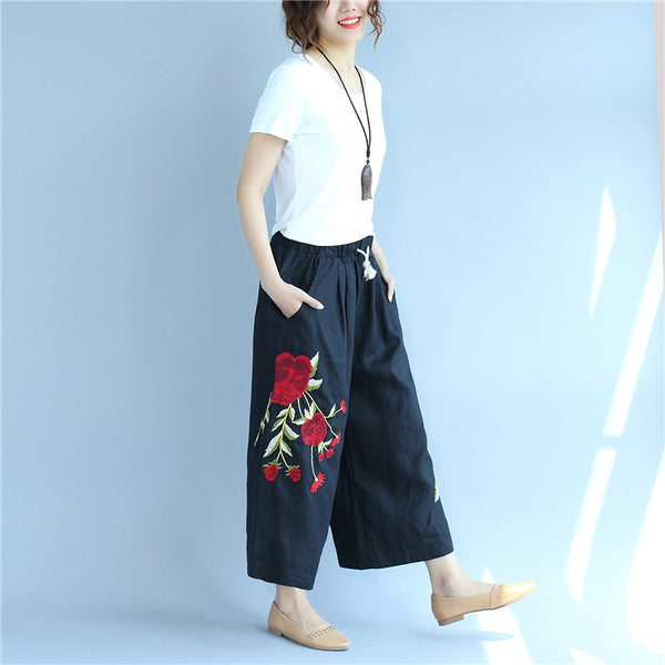 Embroidered Cotton Linen Flower Image Big Pocket Loose Black Pants - Buykud