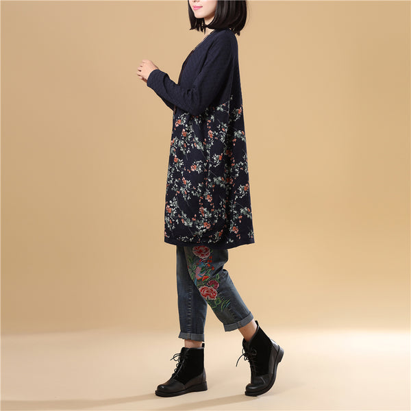 Women Printing Single Breasted Long Sleeve Navy Blue Sweater Dress - Buykud