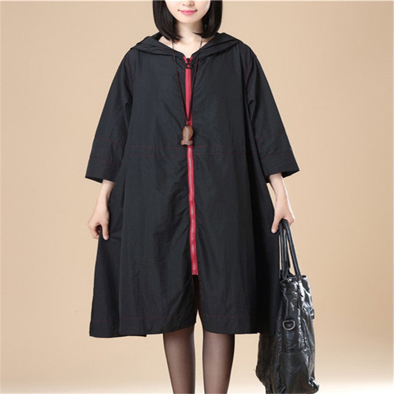 Black Hoodie Three Quarter Sleeves Casual Loose Women Coat - Buykud