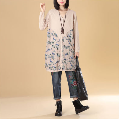 Women Floral Printing Splicing Single Breasted Beige Sweater Dress - Buykud