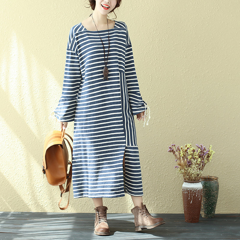 Square Neck Long Sleeve Lacing Blue Stripe Splitting Dress For Women - Buykud