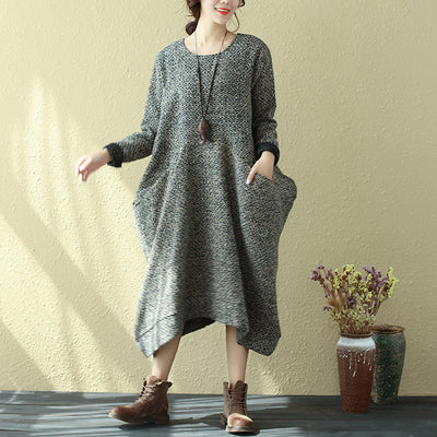 Winter Women Round Neck Loose Casual Long Sleeve Dress - Buykud