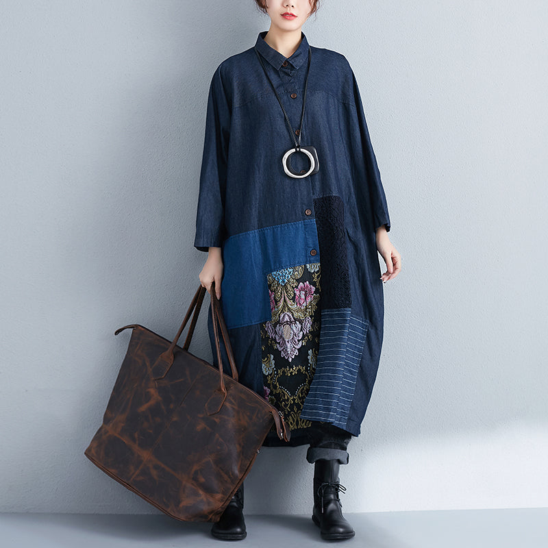 Splicing Polo Collar Shoulder Sleeve Loose Autumn Women Dress - Buykud