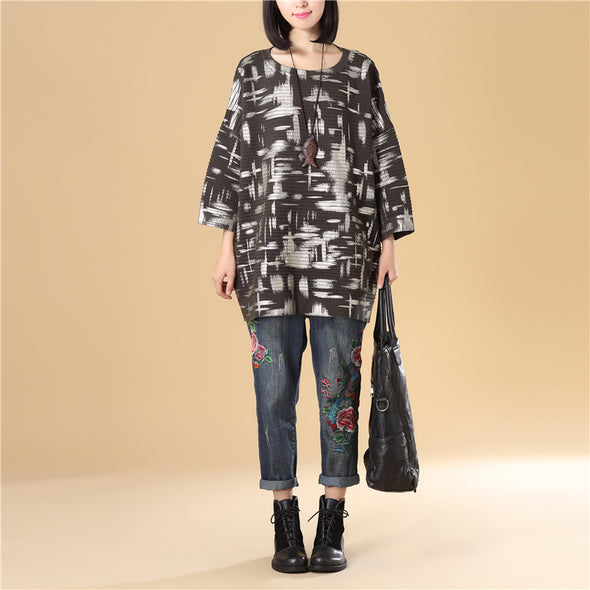 Cotton Women Loose Round Neck Bat Sleeve Green Printing Sweater - Buykud
