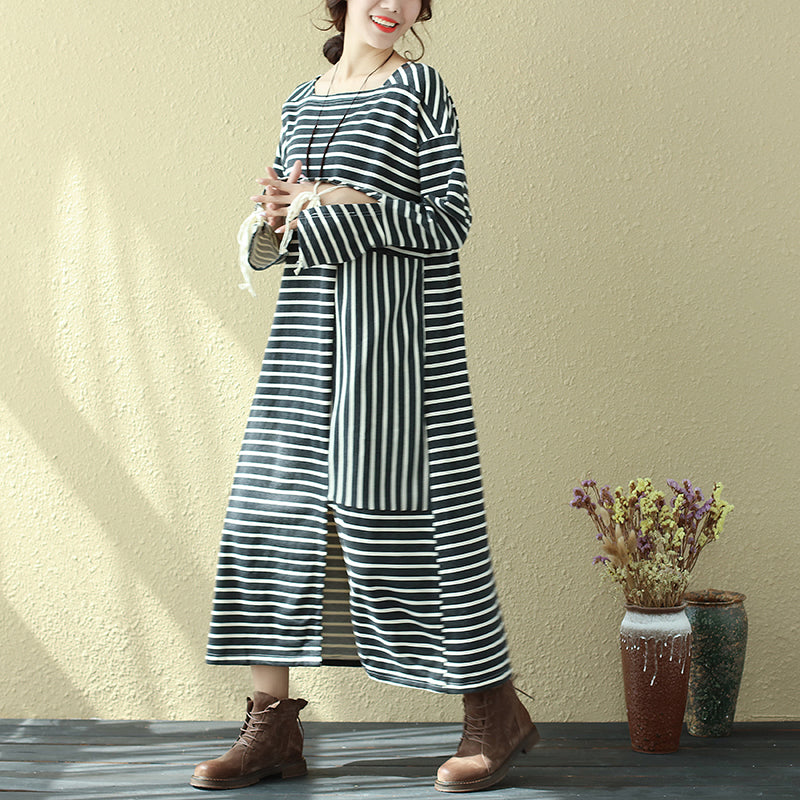 Square Neck Long Sleeve Lacing Black Stripe Splitting Dress For Women - Buykud