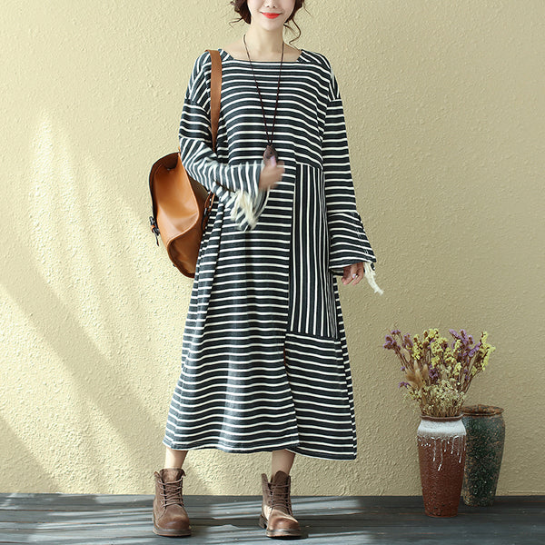 Special Square Neck Long Sleeve Lacing Black Stripe Splitting Dress For Women - Buykud