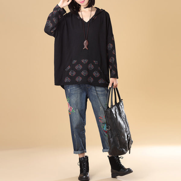 Autumn Women Long Sleeve Irregular Black Hooded Knitted Printing Sweater - Buykud