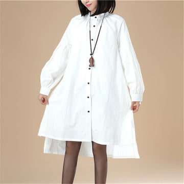 Autumn Women Casual Loose Split Puff Sleeves White Shirt - Buykud