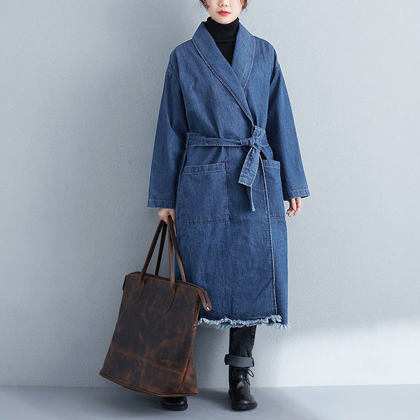 Women Casual Loose Long Sleeve Blue Denim Coat - Buykud