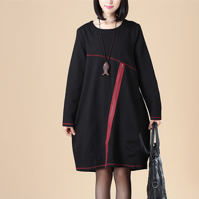 Casual Women Round Neck Long Sleeve Splicing Knee Length Black Dress - Buykud