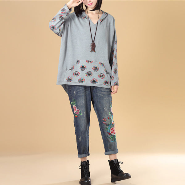 Autumn Women Long Sleeve Irregular Light Blue Hooded Knitted Printing Sweater - Buykud