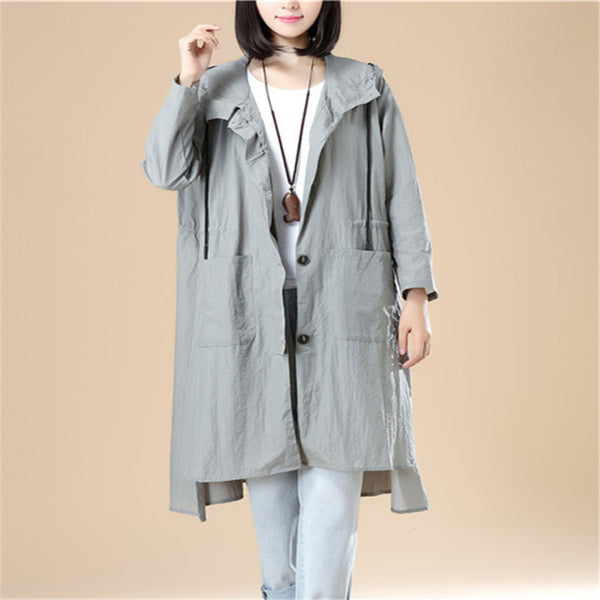 Gray Long Sleeves Hoodie Women Split Elastic Band Shirt - Buykud