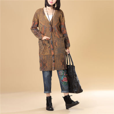 Women Printing Single Breasted Long Sleeve Sweater Dress - Buykud