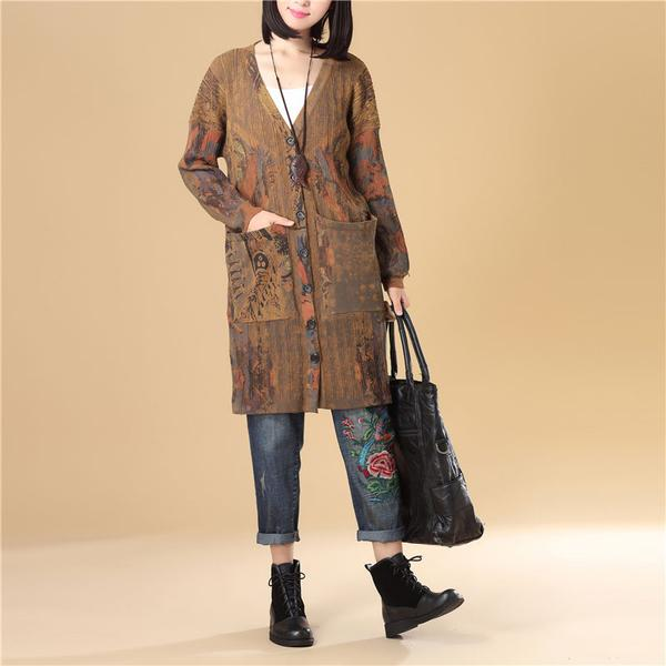 Printing Women Single Breasted Long Sleeve Jacquard Sweater Dress