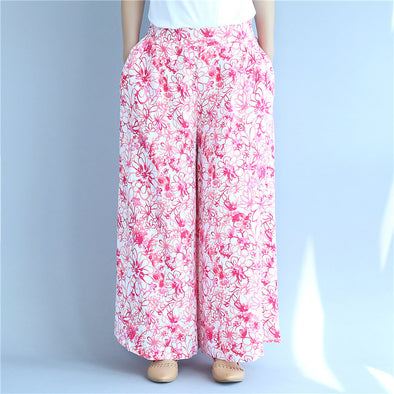 Printing Loose Casual Women Summer Cotton Pink Pants - Buykud