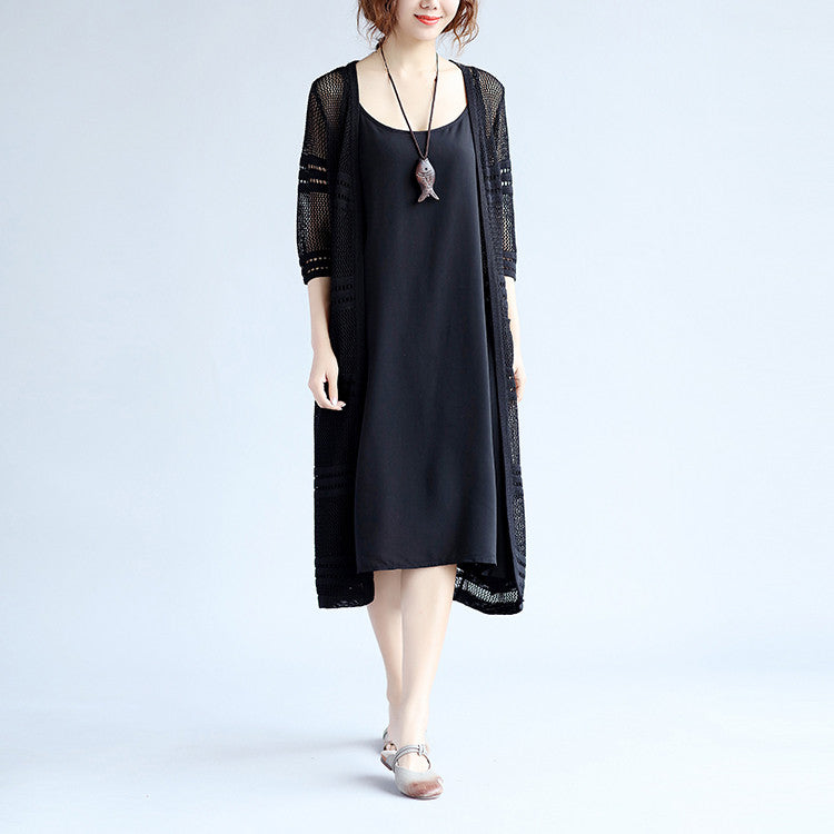 Hollowed Rayon Loose  Women Black Coat - Buykud