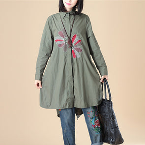 Exquisite Embroidery Women Polo Collar Single Breasted Long Sleeve Army Green Shirt - Buykud