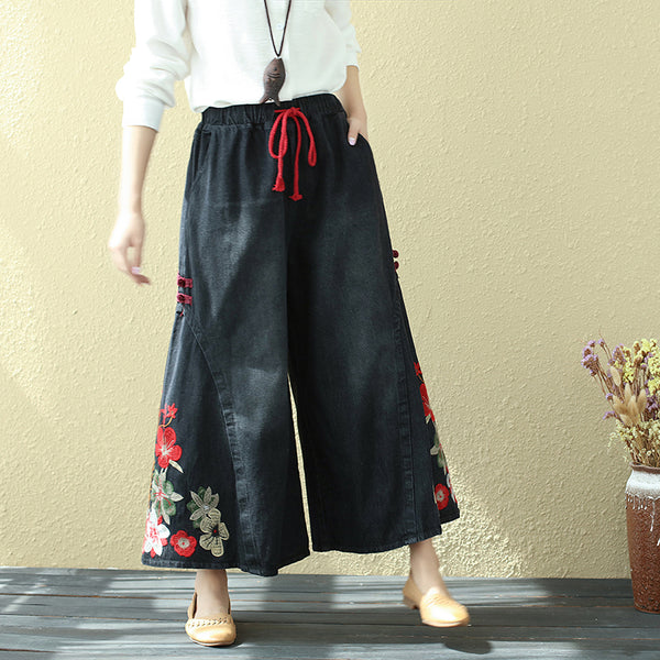 Flower Embroidery Lacing Women Black Jeans Wide Leg Pants - Buykud