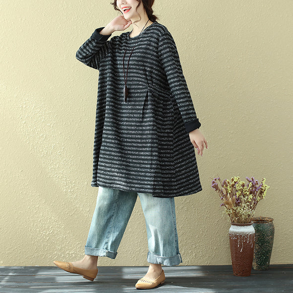 Loose Casual Round Neck Long Sleeve Stripe Shirt Dress For Women - Buykud