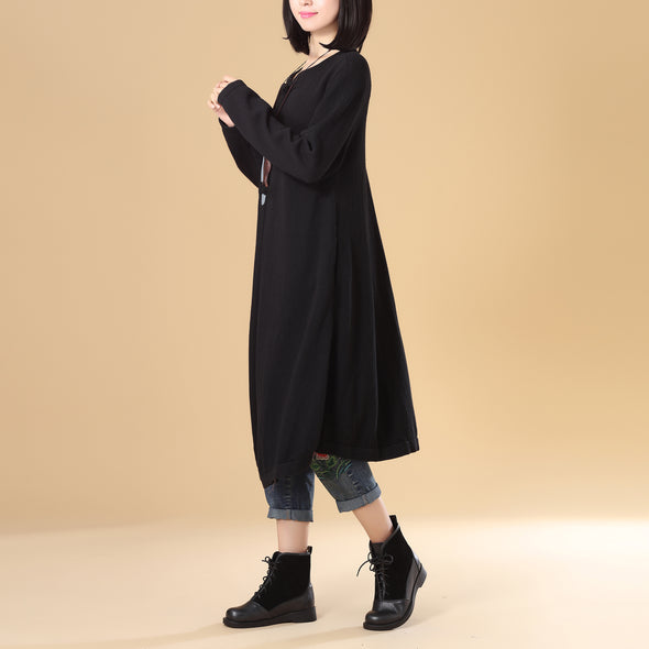 Women Patchwork Printing Black Cardigan Knitted Sweater Coat - Buykud