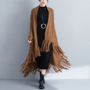 Loose Women Khaki Long Sleeve Tassel Cardigan Coat - Buykud