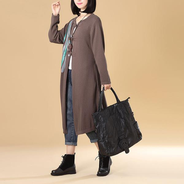 Women Patchwork Printing Black Cardigan Knitted Sweater Coat