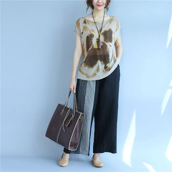 Printing Women Loose Summer Casual Linen Light Coffee Vest - Buykud