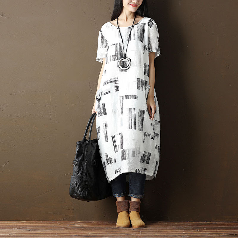 Women Casual Printing Lining Pocket Short Sleeve White Dress
