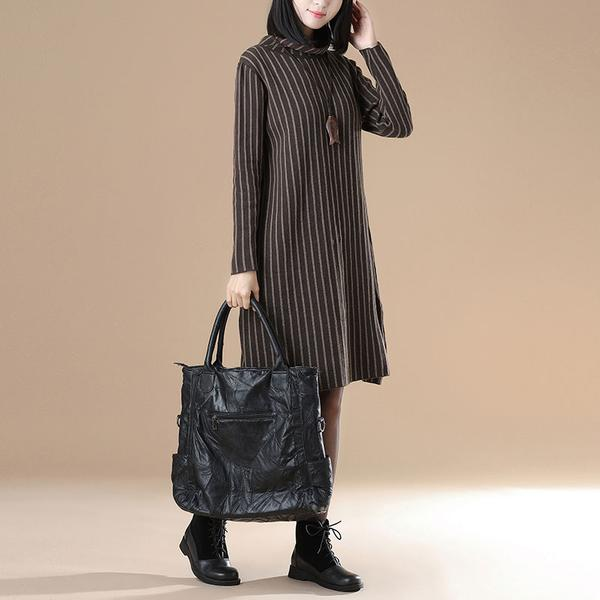 Women Casual Long Sleeve Stripe Mock Neck Dress