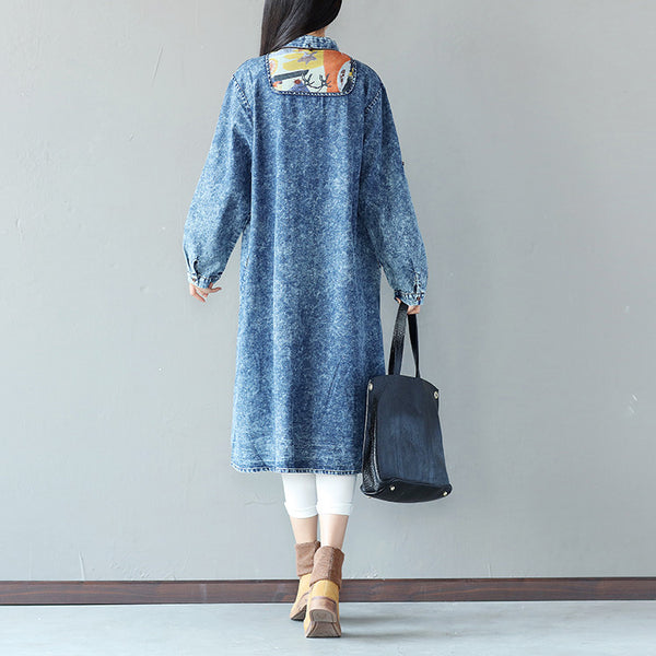 Cotton Women Loose Straight Splicing Casual Shirt Dress