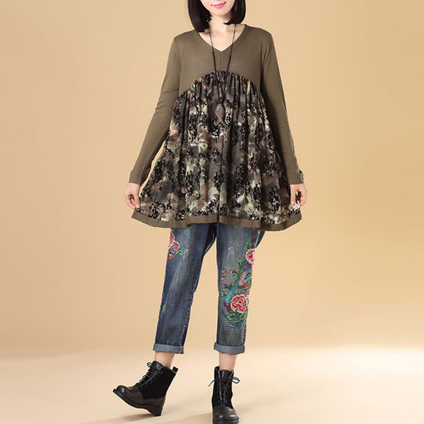 Literature Women Autumn V Neck Long Sleeve Splicing Printing Coffee Sweater Dress - Buykud