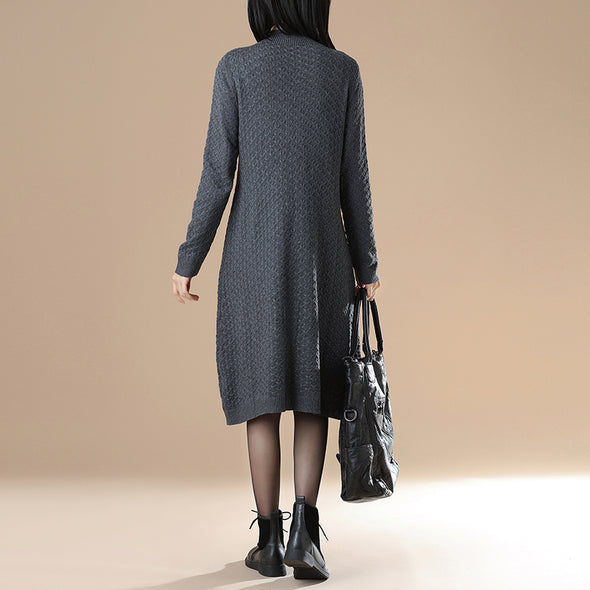 Mock Neck Long Sleeve Rib-Knit Jacquard Gray Sweater Dress - Buykud