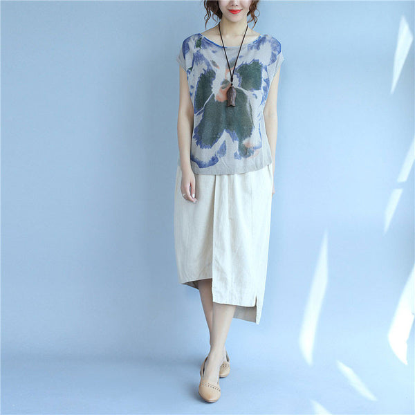 Printing Women Loose Summer Casual Linen Blue Green Vest - Buykud