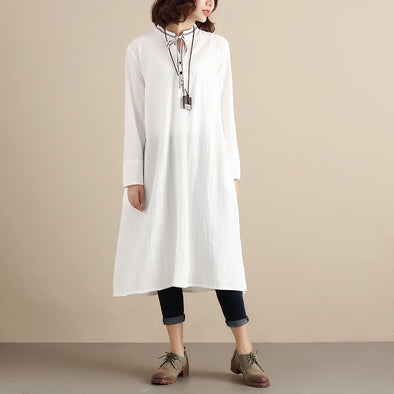 Autumn Women Long Sleeve Lacing White Dress - Buykud
