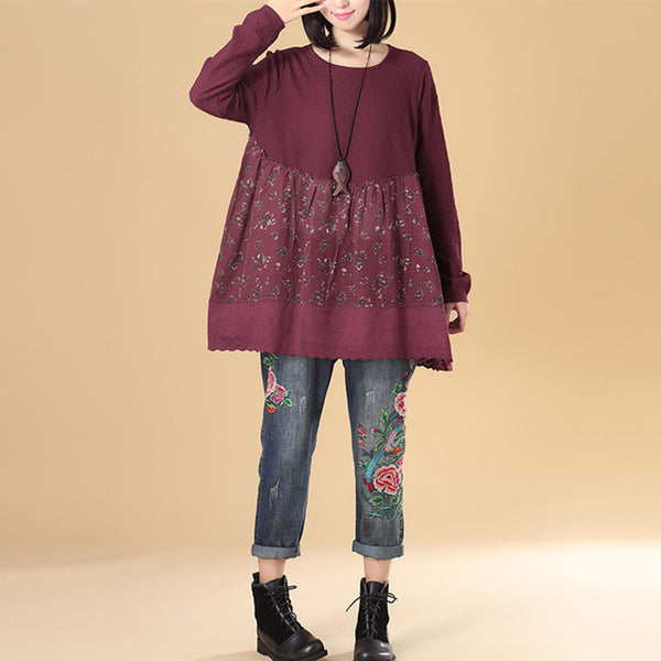 Literature Women Round Neck Long Sleeve Splicing Printing Wine Red Sweater Dress - Buykud