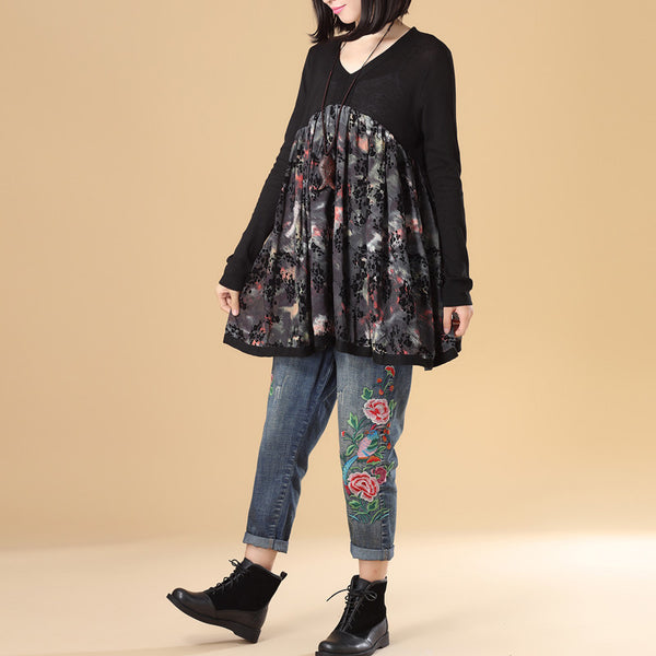 Literature Women Autumn V Neck Long Sleeve Splicing Printing Black Sweater Dress - Buykud