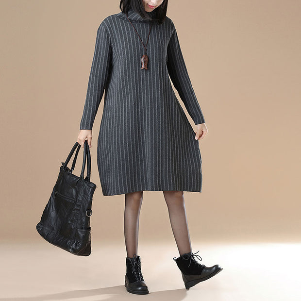 Women Casual Long Sleeve Stripe Gary Mock Neck Dress - Buykud