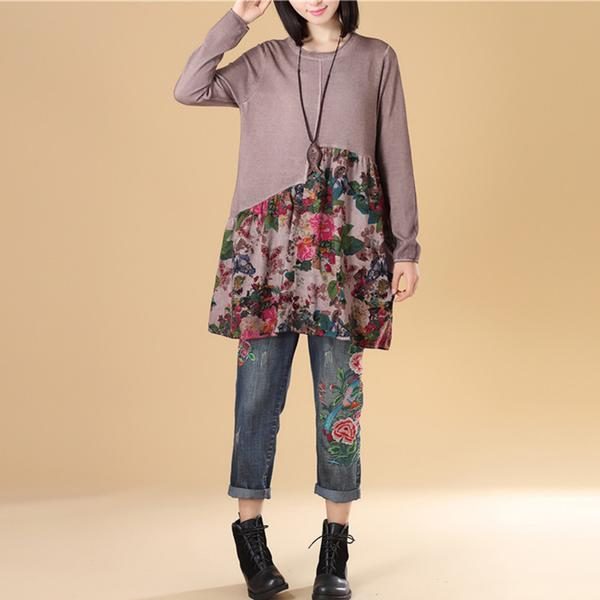 Autumn Women Floral Printing Long Sleeve Splicing Sweater Dress
