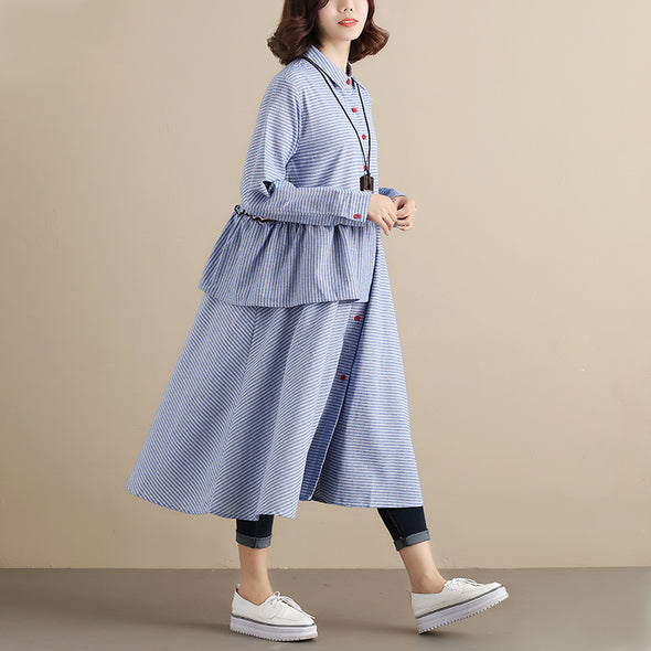 Splicing Stripe Long Sleeve Women Blue Dress - Buykud