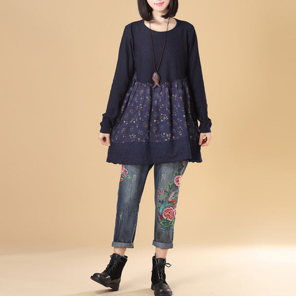 Literature Women Round Neck Long Sleeve Splicing Printing Navy Blue Sweater Dress - Buykud