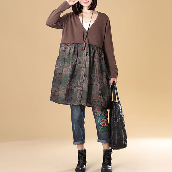 Autumn Women Single Breasted Long Sleeve Patchwork Coffee Printing Sweater Dress - Buykud