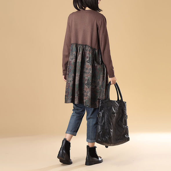 Autumn Women Single Breasted Long Sleeve Coffee Printing Sweater Dress - Buykud
