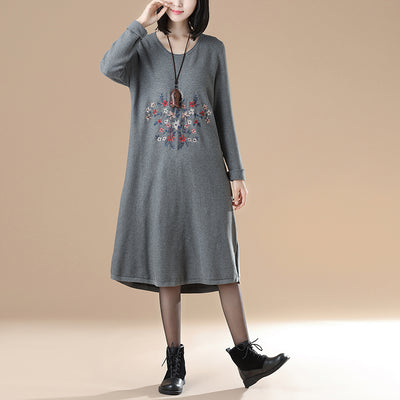 Women Long Sleeve Embroidery Round Neck Casual Dress - Buykud