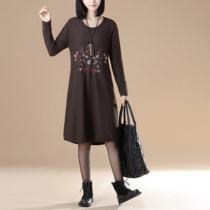 Women Long Sleeve Round Neck Embroidery Casual Dress - Buykud