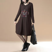 Women Long Sleeve Embroidery Round Neck Casual Dress