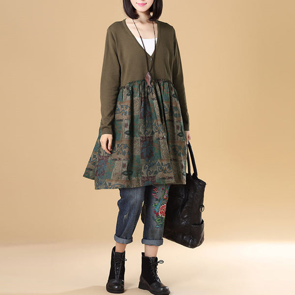 Autumn Women Single Breasted Long Sleeve Patchwork Printing Sweater Dress - Buykud