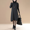 Women Autumn Turtle Neck Long Sleeve Casual Dress - Buykud